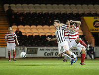 Paul McGowan holds off Gary Fisher in the St Mirren v Hamilton Academical Scottish Communities League Cup match played at St Mirren Park, Paisley on 25.9.12..