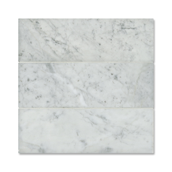 "Giovanni Barbieri 4"" x 12"" Bianco Carrara available in Lucido or Timeworn finish."