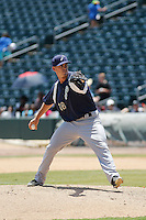 Pensacola Blue Wahoos pitcher Chad Rogers (18) in action during a game against the Jacksonville Suns at Bragan Field on the Baseball Grounds of Jacksonville on May 11, 2015 in Jacksonville, Florida. Jacksonville defeated Pensacola 5-4. (Robert Gurganus/Four Seam Images)