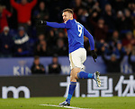Jamie Vardy of Leicester City celebrates scoring the second goal form the penalty spot  during the Premier League match at the King Power Stadium, Leicester. Picture date: 9th March 2020. Picture credit should read: Darren Staples/Sportimage