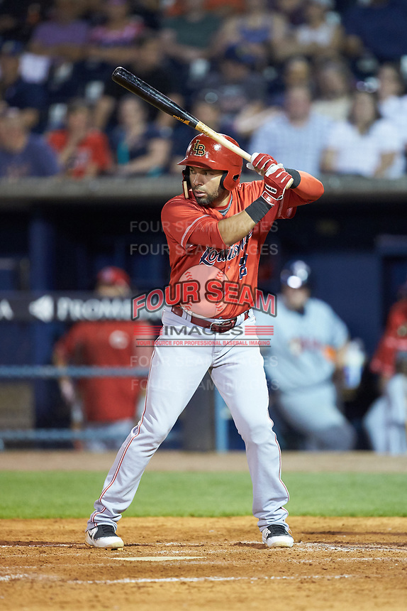Hernan Iribarren (2) of the Louisville Bats at bat against the Toledo Mud Hens at Fifth Third Field on June 16, 2018 in Toledo, Ohio. The Mud Hens defeated the Bats 7-4.  (Brian Westerholt/Four Seam Images)