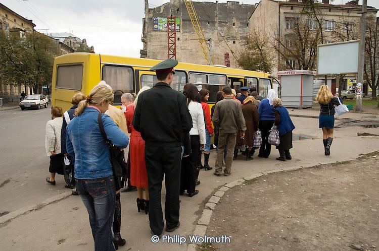Bus queue in a street in Lviv.
