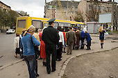 Bus queue in a street in Lviv.