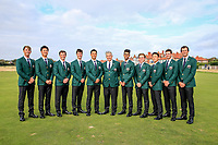 Andy Ogletree, Brandon Wu, Steven Fisk, Cole Hammer, Isaiah Salinda, Nathaniel Crosby (Team Captain), Akshay Bhatia, John Augenstein, John Pak, Alex Smalley, Stewart Hagestad at the opening ceremony at the Walker Cup, Royal Liverpool Golf Club, Hoylake, Cheshire, England. 06/09/2019.<br /> Picture Fran Caffrey / Golffile.ie<br /> <br /> All photo usage must carry mandatory copyright credit (© Golffile | Fran Caffrey)