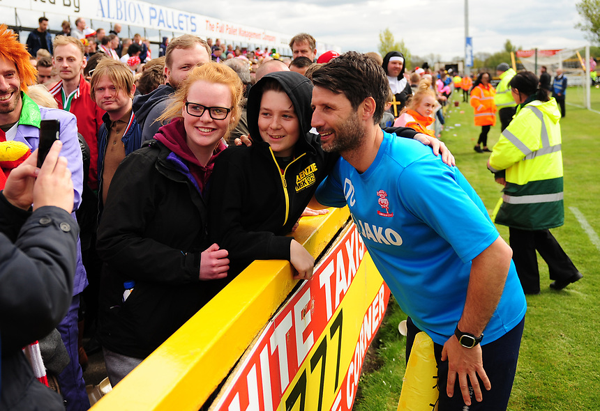 Lincoln City manager Danny Cowley with Lincoln City fans at the end of the game<br /> <br /> Photographer Andrew Vaughan/CameraSport<br /> <br /> Vanarama National League - Southport v Lincoln City - Saturday 29th April 2017 - Merseyrail Community Stadium - Southport<br /> <br /> World Copyright &copy; 2017 CameraSport. All rights reserved. 43 Linden Ave. Countesthorpe. Leicester. England. LE8 5PG - Tel: +44 (0) 116 277 4147 - admin@camerasport.com - www.camerasport.com