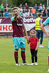 29.07.2017, Heinz-Dettmer-Stadion, Lohne, GER, FSP, SV Werder Bremen vs West Ham United<br /> <br /> im Bild<br /> Marko Arnautovic (West Ham #18) mit Tochter Emilia auf dem Arm nach dem Spiel / Marko Arnautovic (West Ham #18) with his daughter Emilia Arnautovic, <br /> <br /> Foto © nordphoto / Ewert