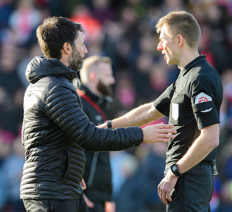 Lincoln City manager Danny Cowley, left, speaks to Referee Michael Salisbury prior to the game<br /> <br /> Photographer Chris Vaughan/CameraSport<br /> <br /> The EFL Sky Bet League Two - Lincoln City v Northampton Town - Saturday 9th February 2019 - Sincil Bank - Lincoln<br /> <br /> World Copyright &copy; 2019 CameraSport. All rights reserved. 43 Linden Ave. Countesthorpe. Leicester. England. LE8 5PG - Tel: +44 (0) 116 277 4147 - admin@camerasport.com - www.camerasport.com