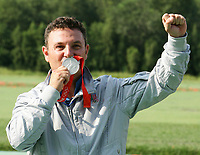 Esultanza di Francesco D'Aniello medaglia d'argento Double Trap<br /> Beijing shooting range CTF<br /> Pechino - Beijing 12/8/2008 Olimpiadi 2008 Olympic Games<br /> Foto Andrea Staccioli Insidefoto