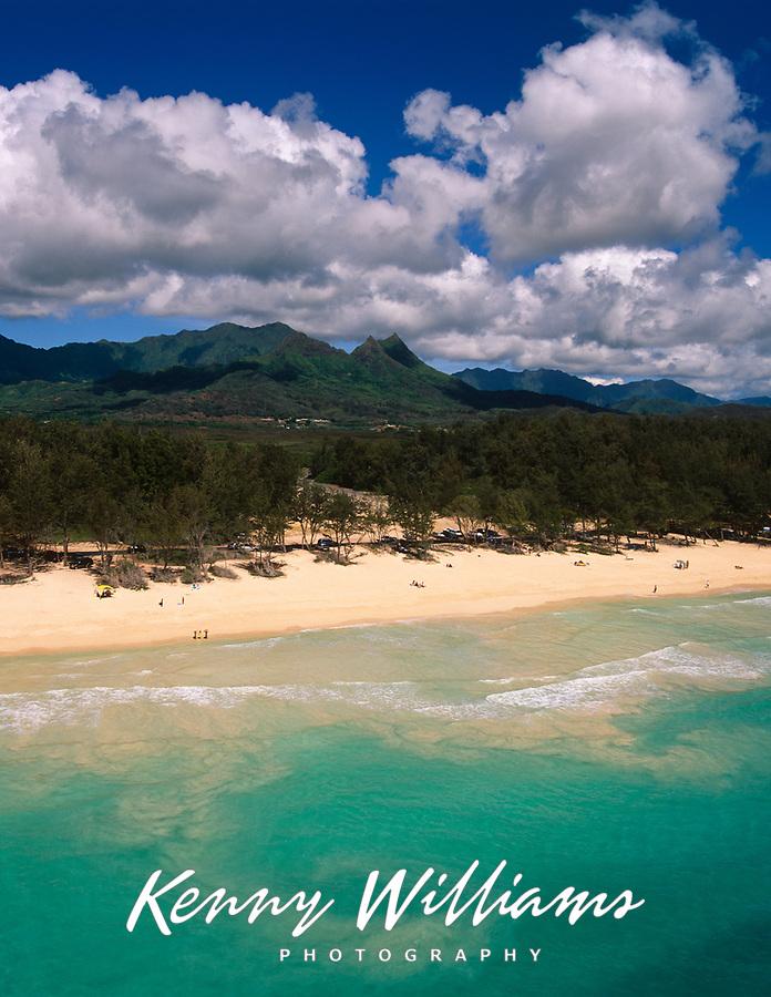 Bellows Beach, Aerial View, Waimanalo, Oahu, Hawaii, USA.