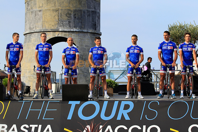 FDJ Team at the Team Presentation ceremony held in Porto Vecchio, Corsica, France.<br /> 27th June 2013. <br /> (Photo:Eoin Clarke/www.newsfile.ie)