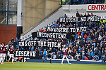22.04.2018 Rangers v Hearts: Rangers fans with a statement at kick-off