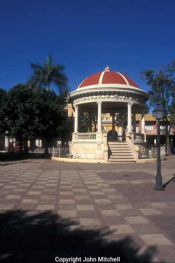 Bandstand in Parque Colon, the main square in the Spanish colonial city of Granada, Nicaragua