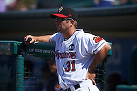 Rochester Red Wings coach Chad Allen (31) during a game against the Pawtucket Red Sox on June 29, 2016 at Frontier Field in Rochester, New York.  Pawtucket defeated Rochester 3-2.  (Mike Janes/Four Seam Images)