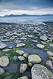 USA, Alaska, Homer, a view of the Kenai Mountains and Kachemak Bay from Bishop Beach