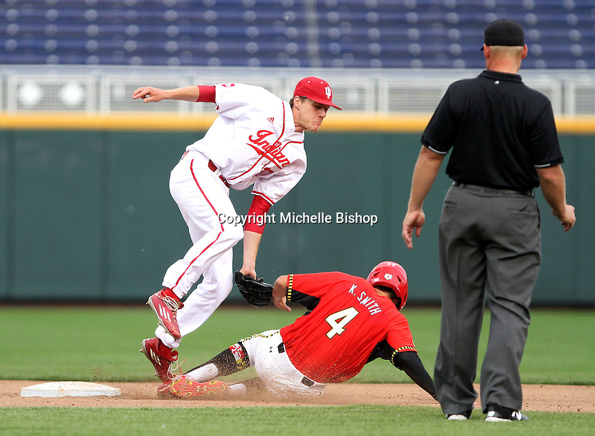 Colby Stratten catches Maryland's Kevin Smith stealing during the eighth inning. Indiana's 3-0 loss to Maryland eliminated the Hoosiers from the Big Ten Tournament at TD Ameritrade Park in Omaha, Neb. on May 27, 2016. (Photo by Michelle Bishop)