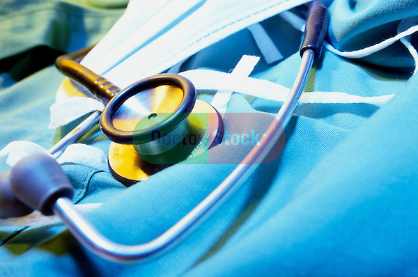 still-life of stethoscope on surgical scrubs