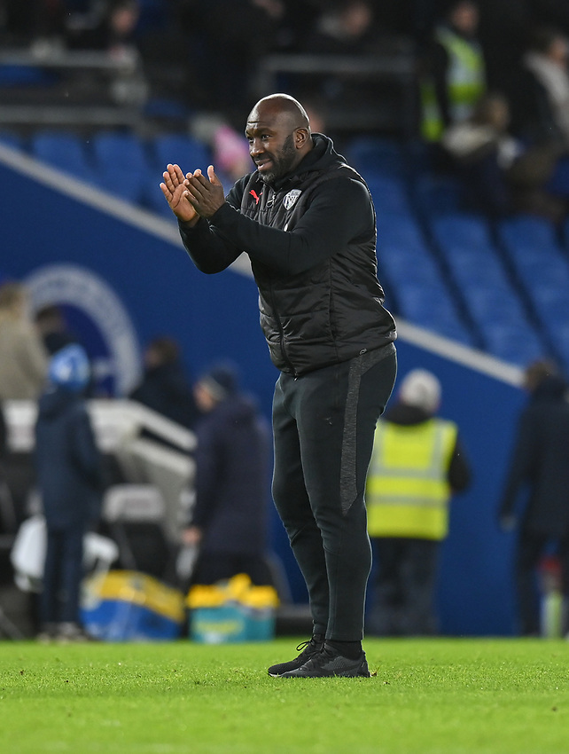 West Bromwich Albion manager Darren Moore applauds the fans at the final whistle <br /> <br /> Photographer David Horton/CameraSport<br /> <br /> Emirates FA Cup Fourth Round - Brighton and Hove Albion v West Bromwich Albion - Saturday 26th January 2019 - The Amex Stadium - Brighton<br />  <br /> World Copyright © 2019 CameraSport. All rights reserved. 43 Linden Ave. Countesthorpe. Leicester. England. LE8 5PG - Tel: +44 (0) 116 277 4147 - admin@camerasport.com - www.camerasport.com