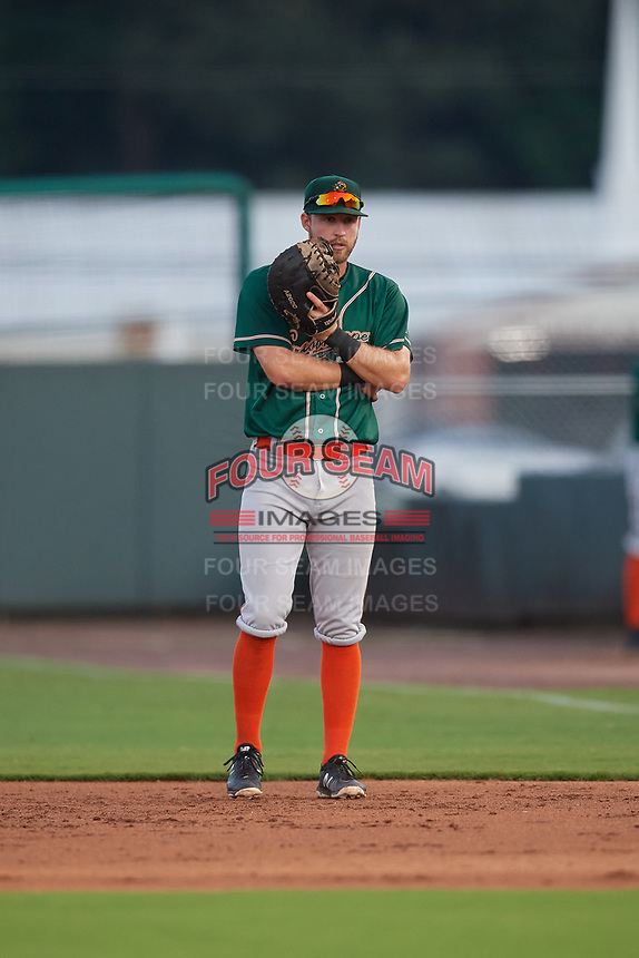 Greensboro Grasshoppers first baseman Luke Mangieri (12) during a South Atlantic League game against the Delmarva Shorebirds on August 21, 2019 at Arthur W. Perdue Stadium in Salisbury, Maryland.  Delmarva defeated Greensboro 1-0.  (Mike Janes/Four Seam Images)