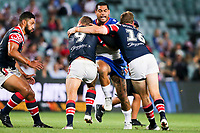 Adam Blair takes the ball up. Sydney Roosters v Vodafone Warriors, NRL Rugby League. Allianz Stadium, Sydney, Australia. 31st March 2018. Copyright Photo: David Neilson / www.photosport.nz