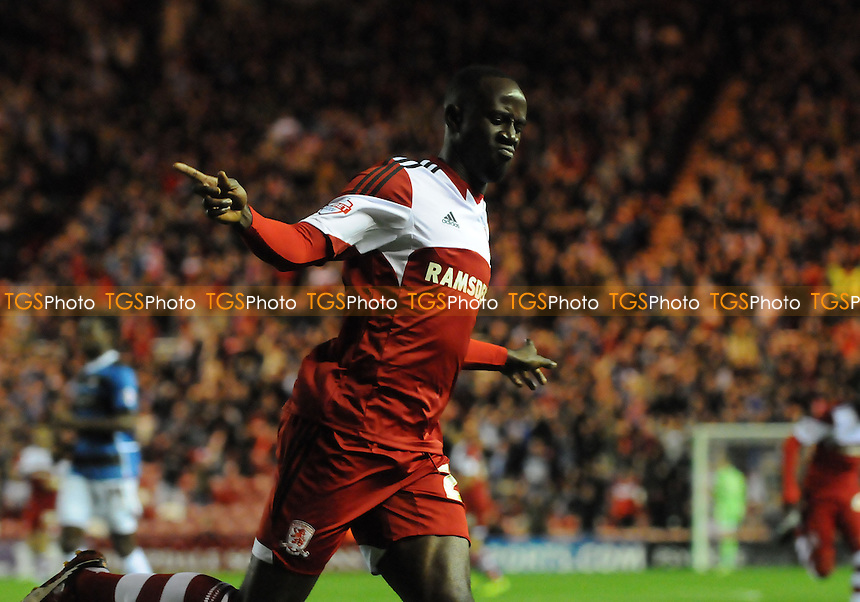 Albert Adomah of Middlesbrough celebrates scoring the opener - Middlesbrough vs Doncaster Rovers - Sky Bet Championship Football at the Riverside Stadium, Middlesbrough - 25/10/13 - MANDATORY CREDIT: Steven White/TGSPHOTO - Self billing applies where appropriate - 0845 094 6026 - contact@tgsphoto.co.uk - NO UNPAID USE
