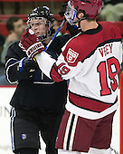 Mike Berry (Bentley - 6), Jimmy Vesey (Harvard - 19) - The Harvard University Crimson defeated the visiting Bentley University Falcons 3-0 on Saturday, October 26, 2013, in Harvard's season opener at Bright-Landry Hockey Center in Cambridge, Massachusetts.