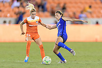 Houston, TX - Sunday Sept. 25, 2016: Denise O'Sullivan, Rumi Utsugi during a regular season National Women's Soccer League (NWSL) match between the Houston Dash and the Seattle Reign FC at BBVA Compass Stadium.