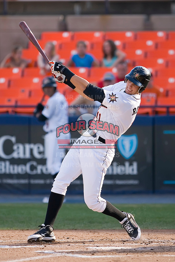 Bill Rowell (11) of the Frederick Keys follows through on his swing at Harry Grove Stadium in Frederick, MD, Monday July 14, 2008. (Photo by Brian Westerholt / Four Seam Images)