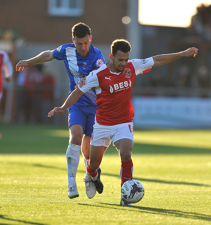 Fleetwood Town's Lyle Della Verde battles with Hartlepool United's Carl Magnay<br /> <br /> Photographer Dave Howarth/CameraSport<br /> <br /> Football - Capital One Cup First Round - Fleetwood Town v Hartlepool United - Tuesday 11th August 2015 - Highbury Stadium - Fleetwood<br />  <br /> &copy; CameraSport - 43 Linden Ave. Countesthorpe. Leicester. England. LE8 5PG - Tel: +44 (0) 116 277 4147 - admin@camerasport.com - www.camerasport.com