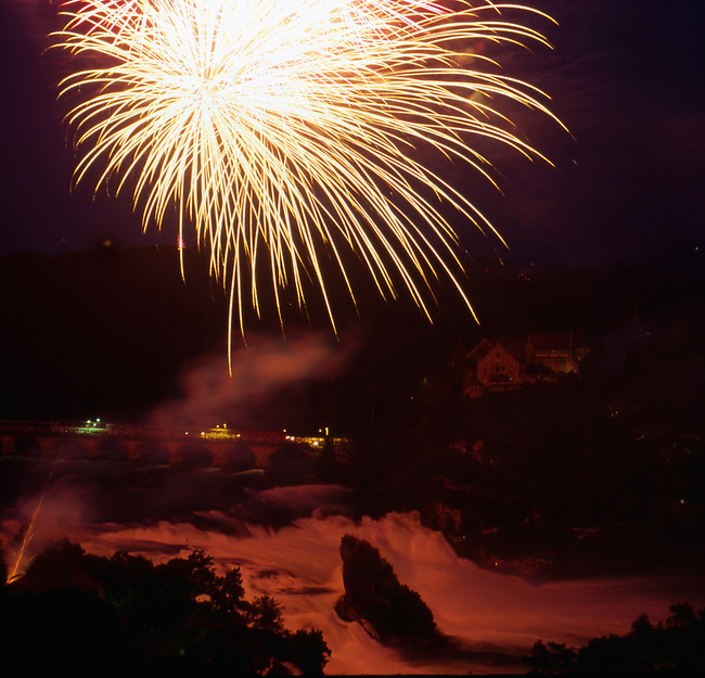 Fireworks, Independence Day, Rheinfall, Neuhausen, Switzerland