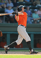 Outfielder Daniel Cook (20) of the Augusta GreenJackets, Class A affiliate of the San Francisco Giants, in a game against the Greenville Drive on May 23, 2010, at Fluor Field at the West End in Greenville, S.C. Photo by: Tom Priddy/Four Seam Images