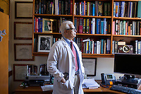 "Dr. Allan Ropper stands in his office at Brigham and Women's Hospital in Boston, Massachusetts, on Wed., Sept. 24, 2014. Ropper is the Executive Vice Chair of Neurology at Brigham and a professor at Harvard Medical School specializing in neurology. On September 30, Ropper's recent book ""Reaching Down the Rabbit Hole: A Renowned Neurologist Explains the Mystery and Drama of Brain Disease"" will be published by St. Martin's Press."