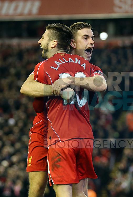 Adam Lallana of Liverpool and Jordan Henderson of Liverpool celebrate - Barclays Premier League - Liverpool vs Swansea City - Anfield Stadium - Liverpool - England - 29th December 2014  - Picture Simon Bellis/Sportimage