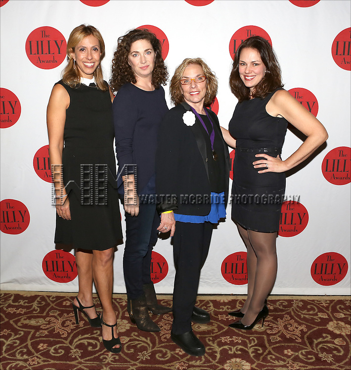 Amanda Green, Julia Jordan, Marsha Norman and Georgia Stitt backstage at The Lilly Awards Broadway Cabaret'   at The Cutting Room on November 9, 2015 in New York City.