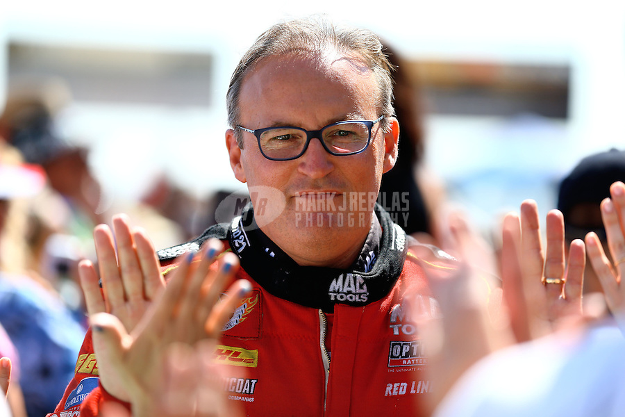 Jul. 21, 2013; Morrison, CO, USA: NHRA top fuel dragster driver Doug Kalitta during the Mile High Nationals at Bandimere Speedway. Mandatory Credit: Mark J. Rebilas-