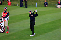 Jordan Spieth (USA) on the 1st during the Saturday Fourball Matches of the Ryder Cup at Gleneagles Golf Club on Saturday 27th September 2014.<br /> Picture:  Thos Caffrey / www.golffile.ie