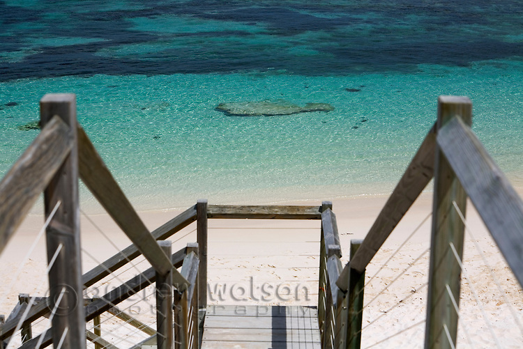 A boardwalk leads down to the clear waters of Salmon Bay on Rottnest Island, Western Australia, AUSTRALIA.