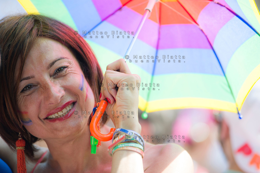 Gay pride Brescia nella foto Vladimir Luxuria cronaca Brescia 17/06/2017 foto Matteo Biatta<br /> <br /> Gay pride Brescia in the picture Vladimir Luxuria chronicle Brescia 17/06/2017 photo by Matteo Biatta