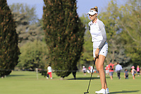 Nellie Korda (USA) on the 15th green during Thursday's Round 1 of The Evian Championship 2018, held at the Evian Resort Golf Club, Evian-les-Bains, France. 13th September 2018.<br /> Picture: Eoin Clarke | Golffile<br /> <br /> <br /> All photos usage must carry mandatory copyright credit (© Golffile | Eoin Clarke)
