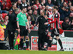 Richard Stearman of Sheffield Utd goes off during the championship match at the Bramall Lane Stadium, Sheffield. Picture date 14th April 2018. Picture credit should read: Simon Bellis/Sportimage