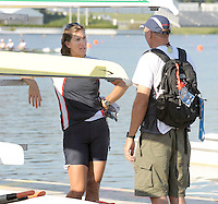 Poznan, POLAND, left, GBR W1X Katherine GRAINGER and coach Paul THOMPSON,  Friday mornings training session as she prepare for the 2009 FISA World Rowing Championships. held on the Malta Rowing lake, Friday  21/08/2009 [Mandatory Credit. Peter Spurrier/Intersport Images]