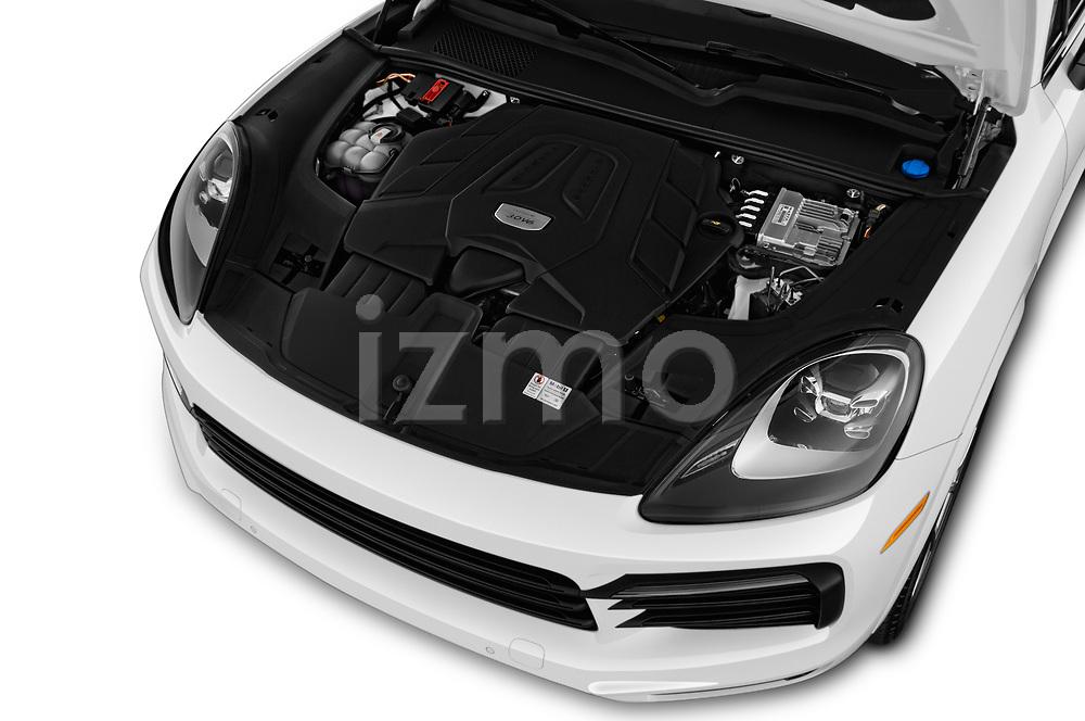 Car stock 2020 Porsche Cayenne Base 5 Door SUV engine high angle detail view