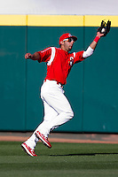 Alex Castellanos (18) of the Springfield Cardinals makes a catch in right field during a game against the Frisco RoughRiders on April 16, 2011 at Hammons Field in Springfield, Missouri.  Photo By David Welker/Four Seam Images