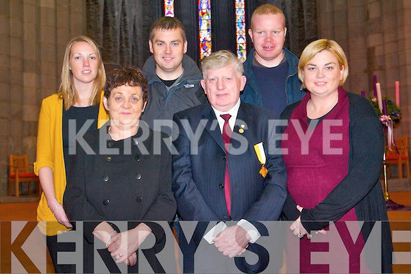 Killarney Sacristan, Tadhg Fleming, is retiring after 50 years service.  Pictured with his family following a special mass last Thursday. .Front L-R Maureen Fleming, Tadhg Fleming and Fiona O'Donnell .Back L-R Sharon Casey, Damien Fleming and David O'Donnell.