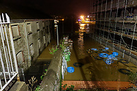 Pictured: A flooded property by river Towy in Carmarthen, Wales, UK. Saturday 13 October 2018<br /> Re: River Towy has burst its banks and adjacent properties have flooded, caused by storm Callum, in Carmarthen, west Wales, UK.