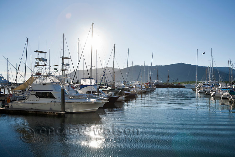 Boats moored in the Marlin Marina.  Cairns, Queensland, Australia