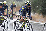 Orica-Scott on the front of the peloton during a very wet and cold Stage 11 of the 2017 La Vuelta, running 187.5km from Lorca to Observatorio Astron&oacute;mico de Calar Alto, Spain. 30th August 2017.<br /> Picture: Unipublic/&copy;photogomezsport | Cyclefile<br /> <br /> <br /> All photos usage must carry mandatory copyright credit (&copy; Cyclefile | Unipublic/&copy;photogomezsport)