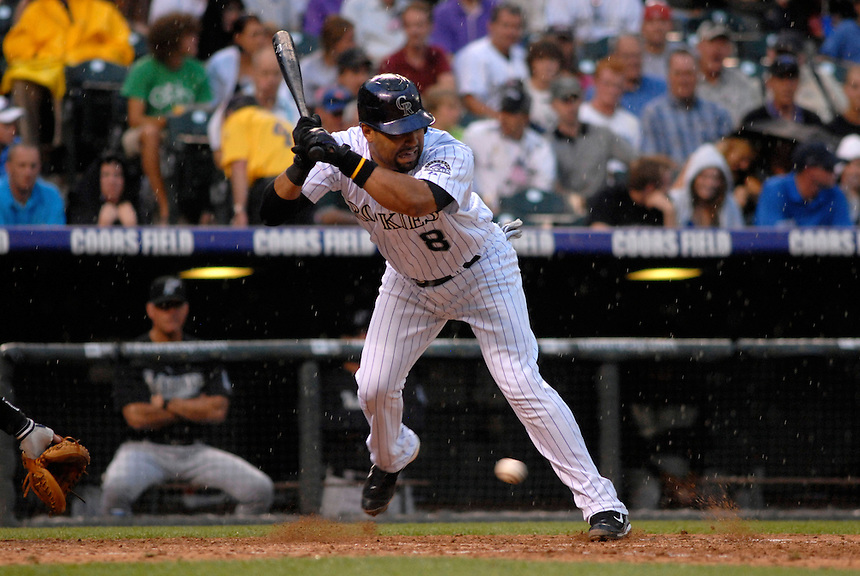 03 July 2008: Colorado Rockies catcher Yorvit Torrealba moves out of the path of a wild pitch during a game against the Florida Marlins. The Rockies defeated the Marlins 6-5 in 11 innings at Coors Field in Denver, Colorado.
