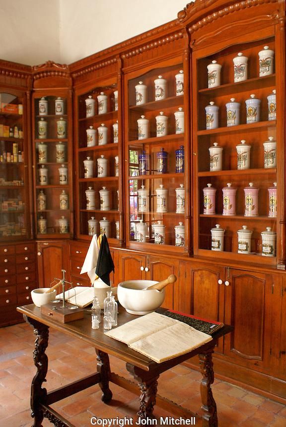 La Botica, replica of 18th century apothecary shop, Museo Historico de San Miguel de Allende, Mexico. San Miguel de Allende is a UNESCO World Heritage Site....
