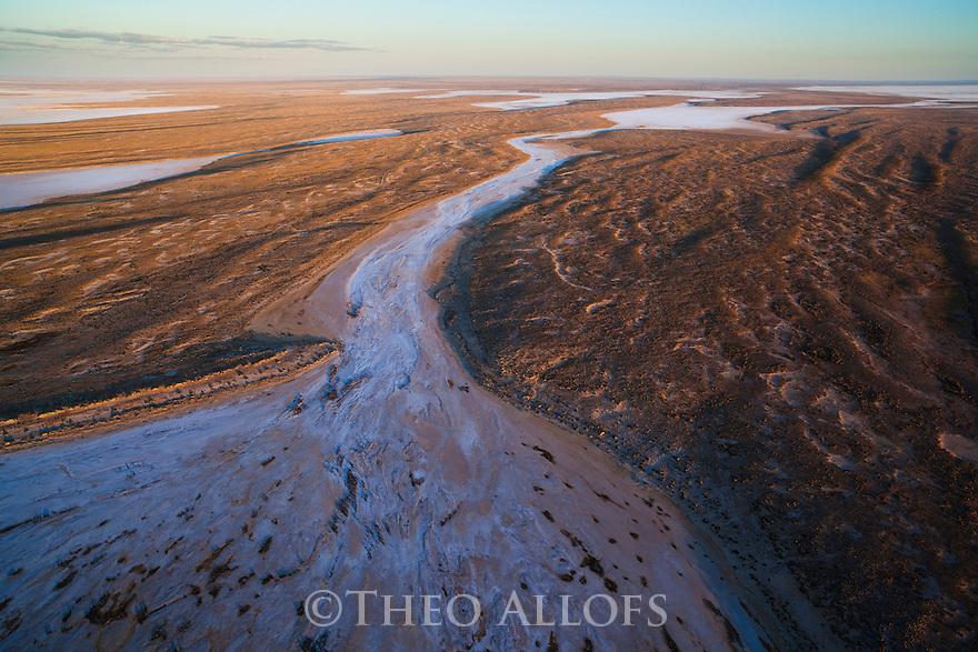 Australia, South Australia; Dry creek delta at salt lake