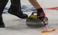 Glasgow. SCOTLAND.  &quot;Sweeping&quot;, &quot;Round Robin&quot; Game. Le Gruy&egrave;re European Curling Championships. 2016 Venue, Braehead  Scotland<br /> Tuesday  22/11/2016<br /> <br /> [Mandatory Credit; Peter Spurrier/Intersport-images] s]